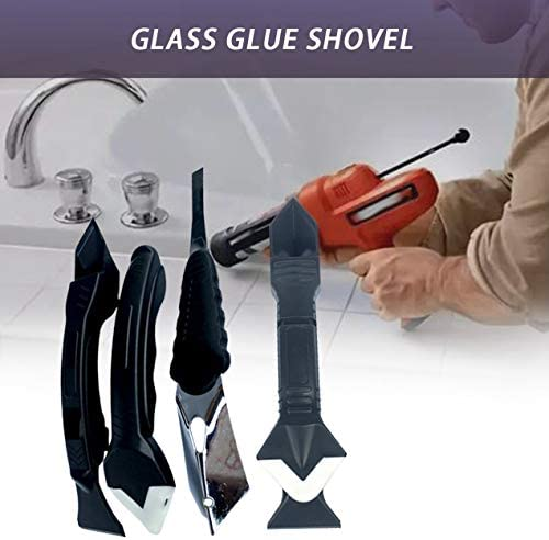 新しいスクレーパーガラス接着剤シャベル接着剤陰角スクレーパーナイフシャベル美容シームツールトリミング残余接着剤-ブラック