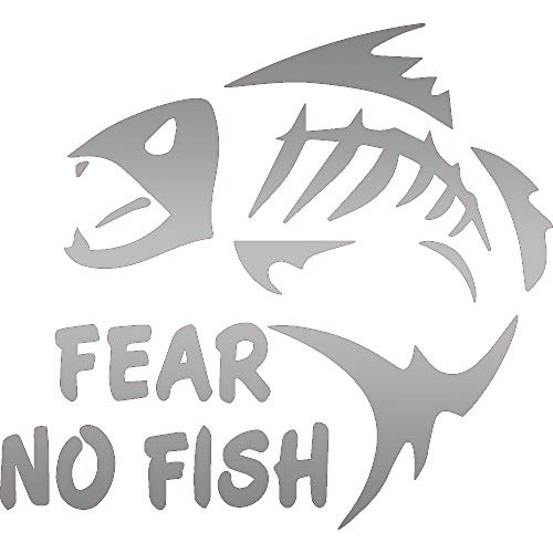 ANGDEST Fear NO Fish (Metallic Silver) (Set of 2) Premium Waterproof Vinyl Decal Stickers for Laptop Phone Accessory Helmet CAR Window Bumper Mug Tuber Cup Door Wall Decoration