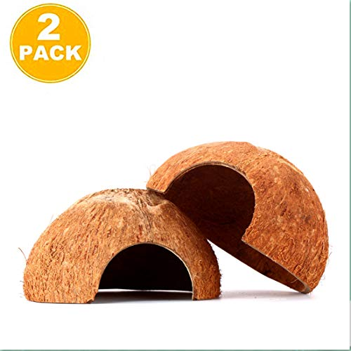 (2 Packs Eco-Friendly Natural Coco Hut,Spacious Coco Tunnel, Pet-Safe Arthropod's Hideout,Lizard, Spider and Aquarium Fish Hide Cave,As a cave or climbe Toy (Natural Surface) )