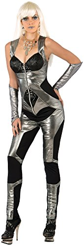 Futuristic Space Suit Costume (Forum Novelties Women's Futuristic Costume Jumpsuit, Silver/Black, Medium/Large)