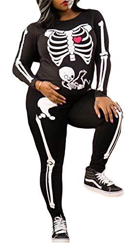 Women's Halloween Skull Skeleton Print Jumpsuits High Waist Long Sleeve Zipper Catsuit Costume