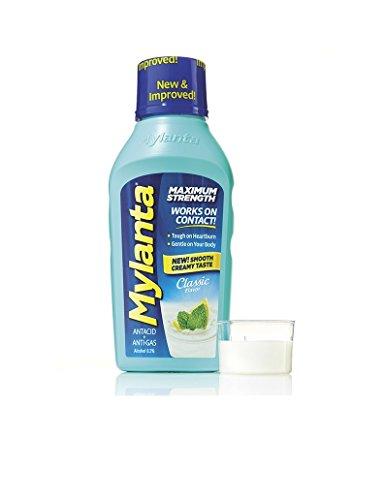 Mylanta Maximum Strength Liquid Antacid + Anti-Gas, Classic Flavor, 12 oz Per Bottle (4 Pack)