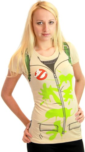 [Ghostbusters Juniors Tan Backpack print on Back Costume T-Shirt (Juniors Large)] (Ghostbuster Costume Backpack)