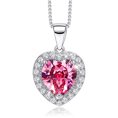 CDE S925 Sterling Silver Birthstone Necklace for Women Embellished with Crystals from Swarovski Jewelry for Women - Crystal Cut Sapphire