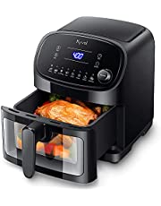 8 Presets Air Fryer, Transparent Window Design, LED Touch Screen/Knob Control, with Nonstick Basket, 6QT for Family Size