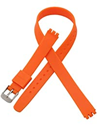 Replacement 12mm Lengthen Waterproof Silicone Rubber Watch Strap Watch Band for Swatch (12mm, Orange
