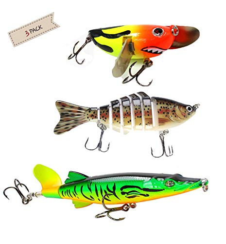 Fishing Lures,Freshwater Tackle Bait Floating Killer Bait,Lifelike Fish Bait and 360°Rotating Tail Lure (3pcs),Bass Perch Trout Pike Musky Catfish (Best Lures For Catfish)