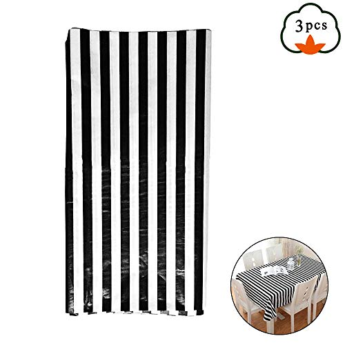 Black And White Striped Balloons (ETSAMOR Disposable Table Covers, 3pcs 54