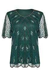 Women's Peacock Embellished Sequined Beaded Blouse