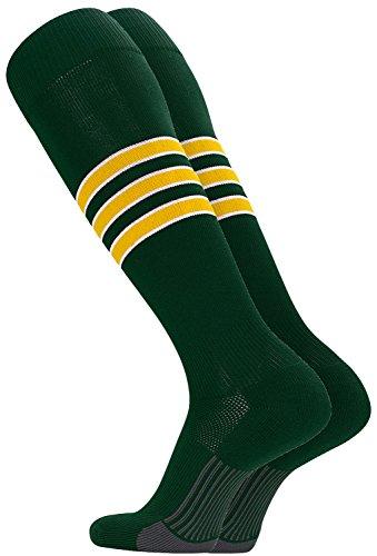 TCK Performance Baseball/Softball Socks (Dark Green/White/Gold, Small)