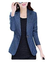 CRYYU Women Slim Fit Business Office Lapel One-Button Long Sleeve Blazer Jacket
