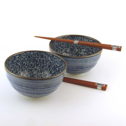 Japanese Kyo Karakusa Bowl And Chopsticks Set includes 2 Bowls and 2 Sets of Chopsticks