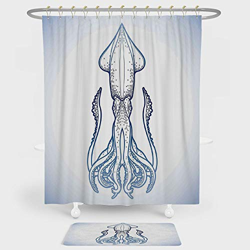Kraken Decor Shower Curtain And Floor Mat Combination Set Squid Figure in Classic Line Art Style Graphic Nautical Marine Creature Image For decoration and daily use (Marina Nickel Shower Curtain)