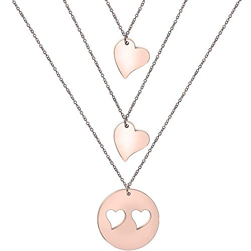 - Zuo Bao Mother and Daughters Necklace Set- Mom and Daughter Jewelry- Gift for Mom (Rose Gold-2 Daughter)
