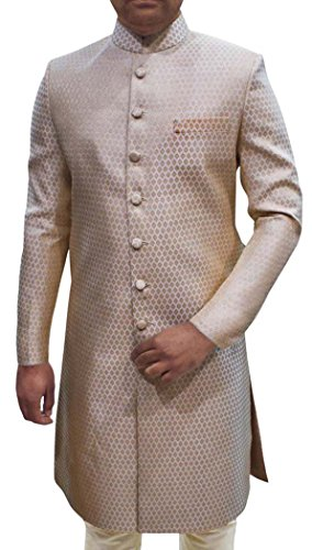INMONARCH Mens Ivory 2 Pc Sherwani Wedding Wear SH493S46 46 Short Ivory by INMONARCH
