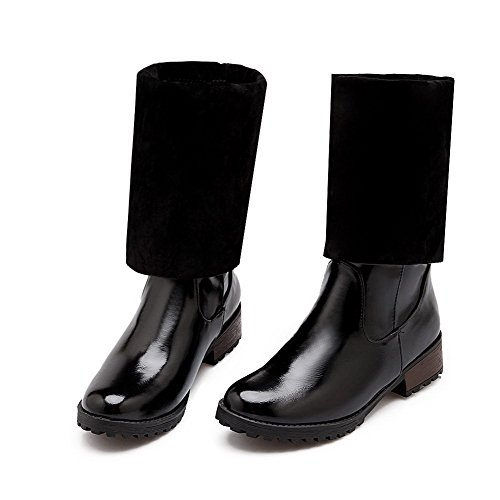 AgooLar Women's Round Boots Pull Black Solid Heels Low PU on Closed Toe wHaBqR