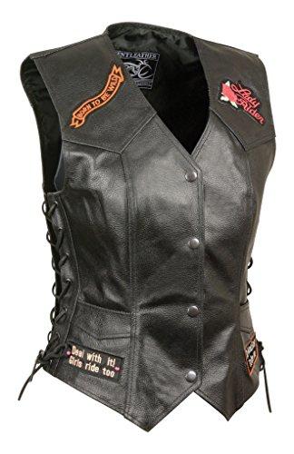 Event Leather Women's 9 Patches Vest (Black, Large)