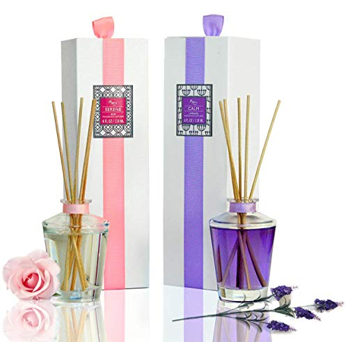 Manu Home Spring Diffuser Sets ~ Made with Relaxing Aromatherapy Oils ~ Helps Relieve Stress & Anxiety! Ready to Gift ~ Lavender & Rose Scents~ Made in The USA~