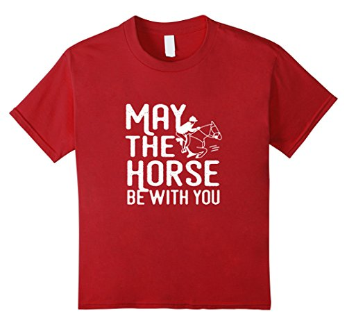 Kids May the Horse Be With You - Funny Horse Shirt 4 Cranberry