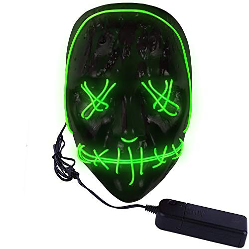 molezu LED Light Up Scary Purge Mask, Novelty Halloween Costume Party Creepy Props, Safe EL Wire PVC DJs Mask Green LED ()