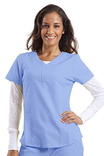 - Purple Label by Healing Hands Scrubs Women's Jane V-neck 2 Pocket Top, Large - Ceil Blue