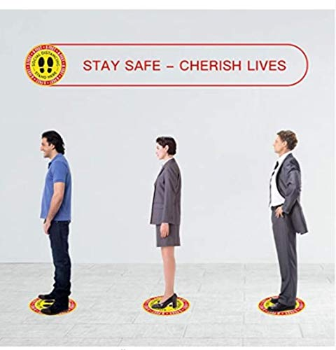 10 Pack of Safety Floor Sign Keep 6ft Safety Floor Sticker for Grocery Hospitals Bank and Crowd Control Guidance 11 Round Social Distancing Floor Decals