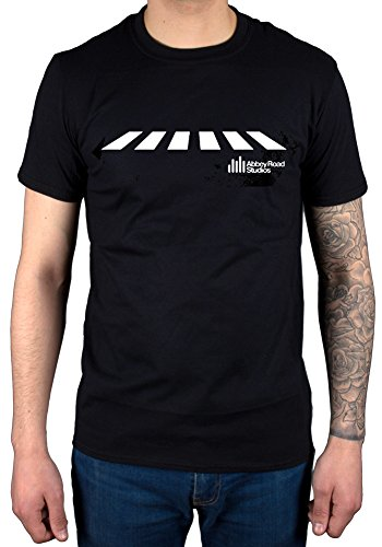 AWDIP Men's Official Abbey Road Studios Crossing T-Shirt Music Band Album Cover The Beatles Black