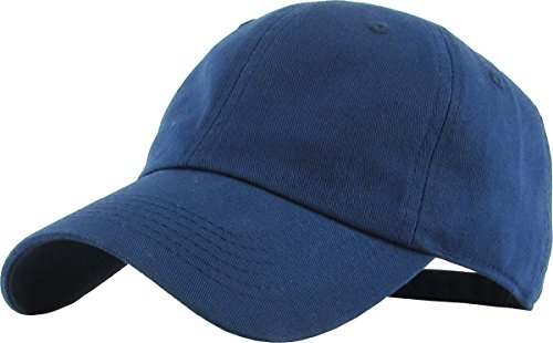 - KB-LOW NAV Classic Cotton Dad Hat Adjustable Plain Cap. Polo Style Low Profile (Unstructured) (Classic) Navy Adjustable