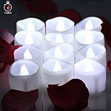 OMGAI LED Tea Lights With Timer Battery Operated Flickering Unscented Flameless Candles Electric Tea light, 60+ Hours of Lighting for Home Decor, Set of 12 White