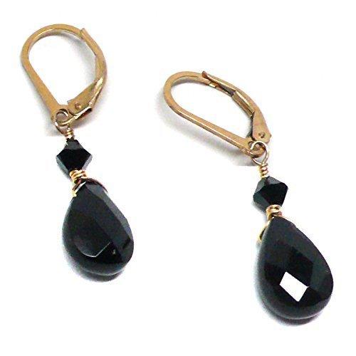 Black Agate Briolette Lever Back Earrings Swarovski Crystal (Swarovski Agate Earrings)