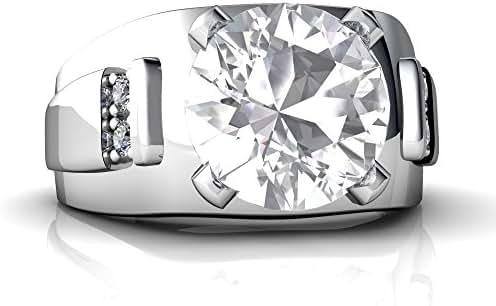 14kt Gold White Topaz and Diamond 9mm Round Men's Ring