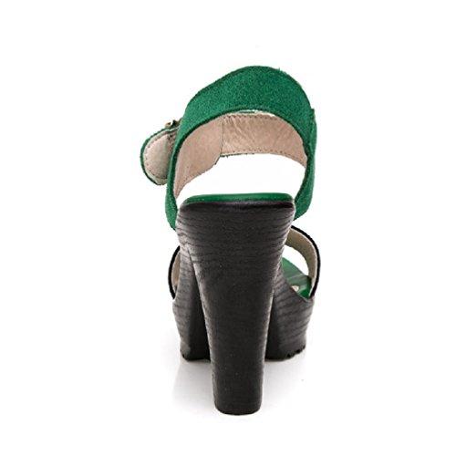 Femmes de Haut Talon Sandales Open Toe épais Chaussures Robe de Cheville Cool Plates-Formes Sangle Vert qMAM8