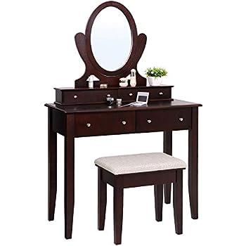 Amazon Com Espresso Vanity Set 5 Drawers W Stool Amp Mirror
