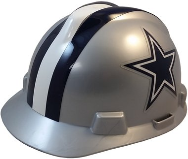 MSA NFL Team Safety Helmets with One-Touch Adjustable Suspension and Hard Hat Tote - Dallas Cowboys