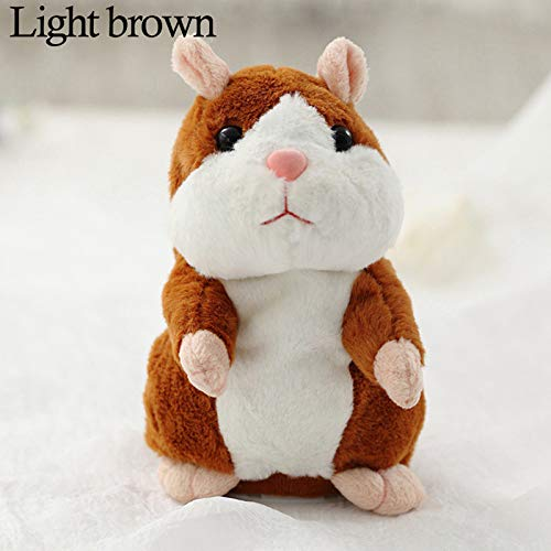 Yitrend Talking Hamster, Repeats What You Say Electronic Pet Talking Plush Toy Halloween Christmas Xmas Gift for Kids Children (Light Brown)