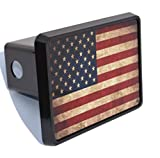 #6: Rogue River Tactical USA American Flag Trailer Hitch Cover Plug US Patriotic Vintage Rustic Flag