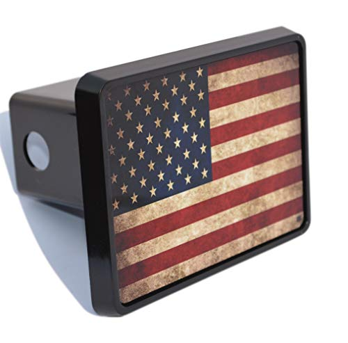 Rogue River Tactical USA American Flag Trailer Hitch Cover Plug US Patriotic Vintage Rustic Flag