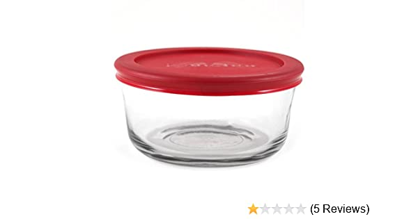 Amazoncom Anchor Hocking Round Glass Storage Container with Red