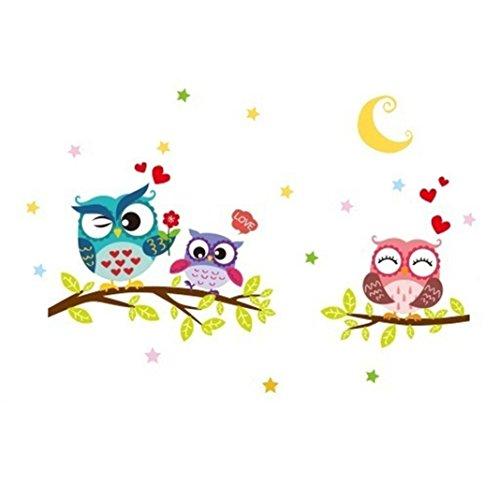Colorido Removable Cartoon Owl Animal Wall Sticker Art DIY Decals Kids Room Decor
