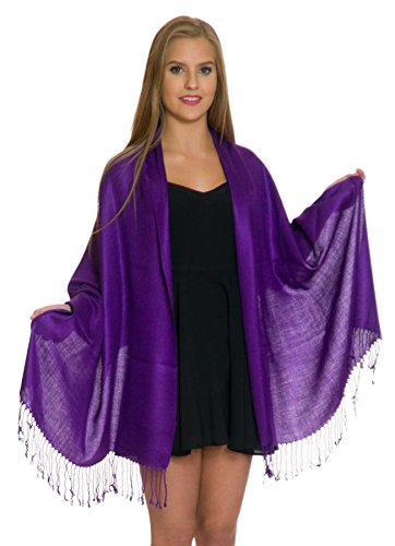 Pashmina Shawls and Wraps - Large Scarfs for Women - Party Bridal Long Fashion Shawl Wrap with Fringe (Dark - Purple Burgundy Is