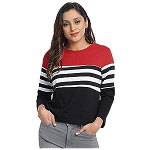 JUNEBERRY Cotton Regular Fit Full Sleeve Striped T-Shirt for Women