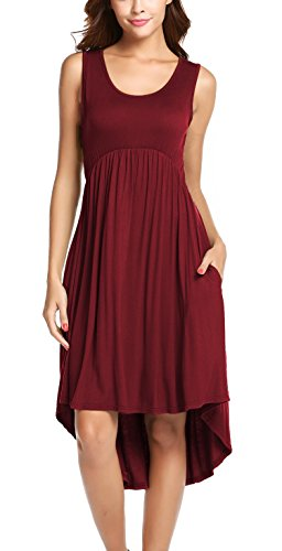Hount Womens Summer Plain Sleeveless Pockets High Low Casual Swing Midi Dress (Large, Wine Red)