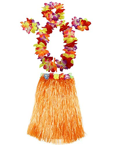 AniiKiss 1 Set 60cm Adult Hula Grass Skirt Hawaiian Party Costume Luau Dance Skirts (Orange)