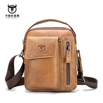 BULLCAPTAIN Men Cowhide Shoulder Bag Vintage Style Casual Business Messenger Bags Casual Crossbody Bag