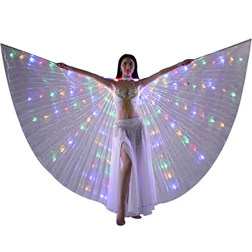 LED Isis Wings - Belly Dance Light Up Wings Party Club Wear with Flexible Sticks for Women/Girls(Multicolor)