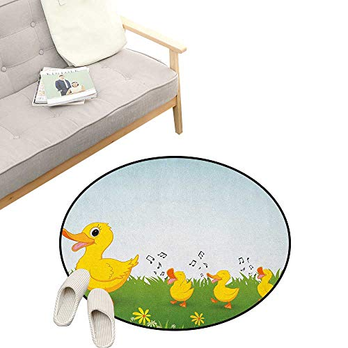 (Cartoon Round Rugs ,Mother Duck and Babies Walking and Singing on The Meadow with Flowers, Design Home Decoration 31