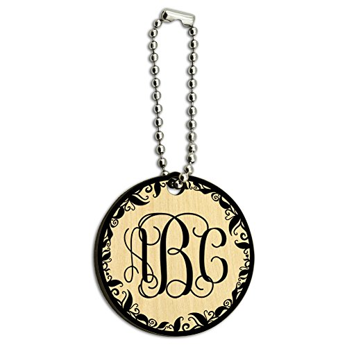 Graphics and More Personalized Custom Wood Wooden Round Key Chain - Monogram Fancy Font Vine Outline