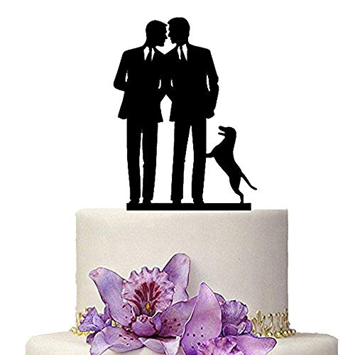 Groom Wedding Cake Topper - Same Sex Gay Wedding Cake Topper - Anniversary Decoration Cake Topper-Mr and Mr Wedding Cake Topper