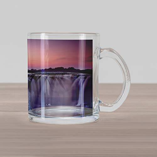 Lunarable Waterfall Glass Mug, Grand Majestic Waterfalls View at Sunset in Africa Wild Mist Exotic Land Photo, Printed Clear Glass Coffee Mug Cup for Beverages Water Tea Drinks, White Pink (Waterfall Grande Clear Glass)
