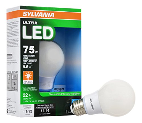 SYLVANIA 75W Equivalent - LED Light Bulb - A19 Lamp - 1 Pack/Daylight - Dimmable & Energy Star Qualified Ultra Line - E26 Medium Base - 9.5W - 5000K ()